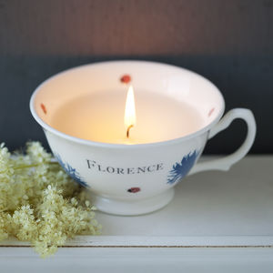 Bloom Candle In Personalised Hand Decorated Cup - dining room