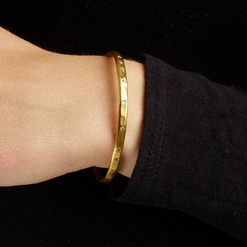 Gold Torque Bangle With White Sapphires