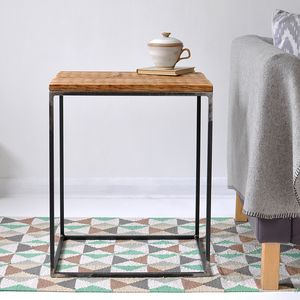 Oxford Wood And Steel Side Table - furniture