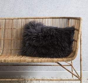 Dark Grey Tibetan Sheepskin Cushion - the new winter rustic