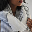 Luxurious Handmade Linen and Cotton Shawl - Navy and White