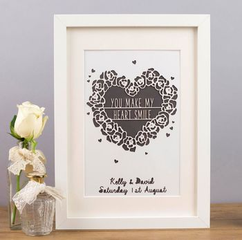 Personalised 'You Make My Heart Smile' Framed Paper Cut