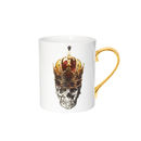 Skull In Red Crown Bone China Mug
