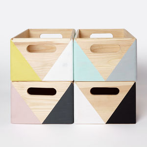 Geometric Wooden Box With Handles Two Sizes Available - toy boxes & chests