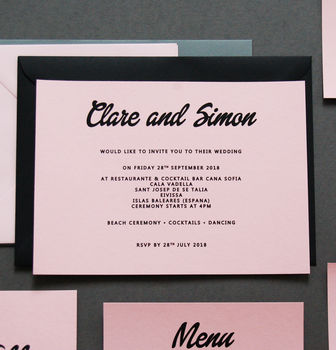 Pink And Black Wedding Invitation Invite