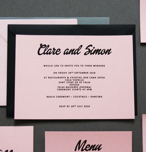 Pink And Black Wedding Invitation Invite - new in wedding styling