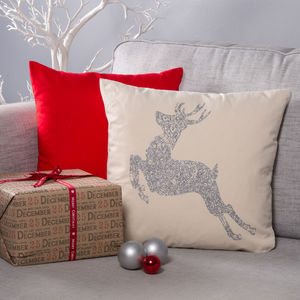 Glitter Christmas Cushion 'Deer'
