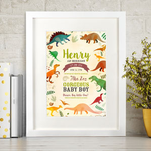 Dinosaur Birth Details Print - prints & art sale