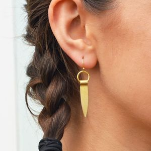 Brass Petal Drop Earrings - earrings