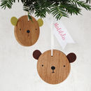 Wooden Bear Decoration With Name Tag