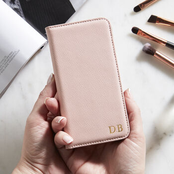 Personalised Leather Flip Phone Case