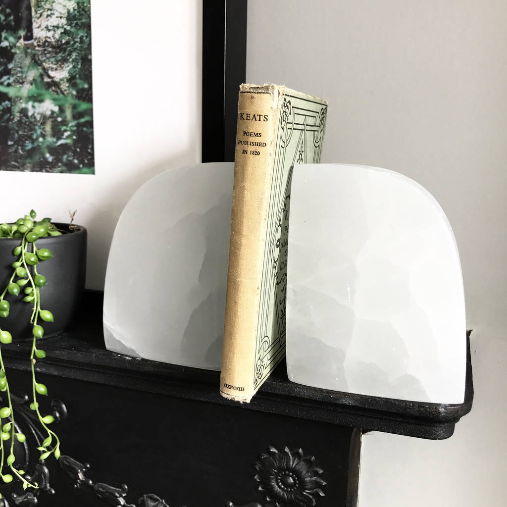Selenite Crystal Bookends