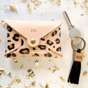 Leopard Personalised Leather Coin Purse And Keyring Set