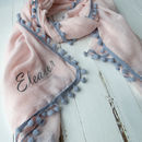 Personalised Pink Personalised Pom Pom Scarf