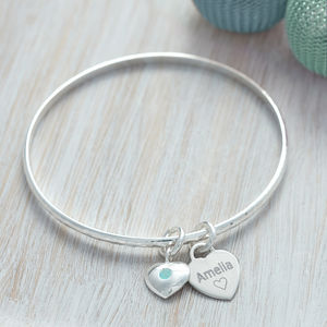 Birthstone Personalised Sterling Silver Bangle - bracelets & bangles