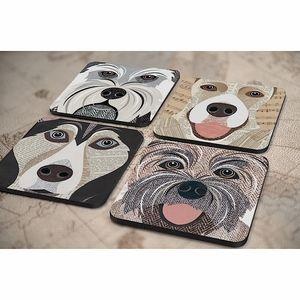Dog Coaster 54 'Close Up' Designs - tableware