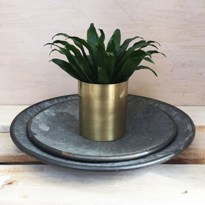 Pair Of Mottled Zinc Display Trays - kitchen