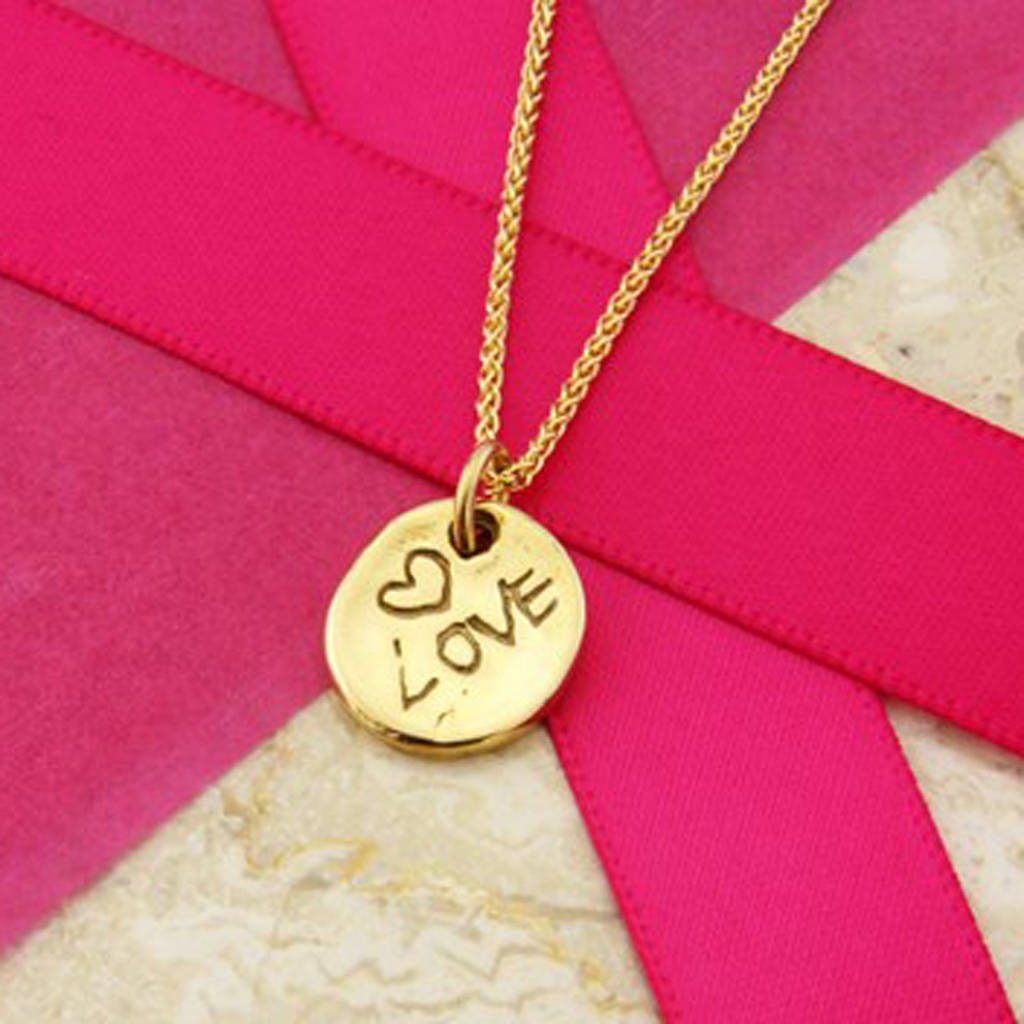 'Love' Pendant In 9ct Gold