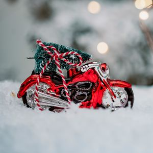 Christmas Glass Motorbike Decoration