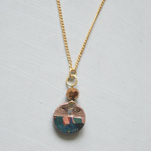 Starburst Cutout Circle Marbled Print Pendant