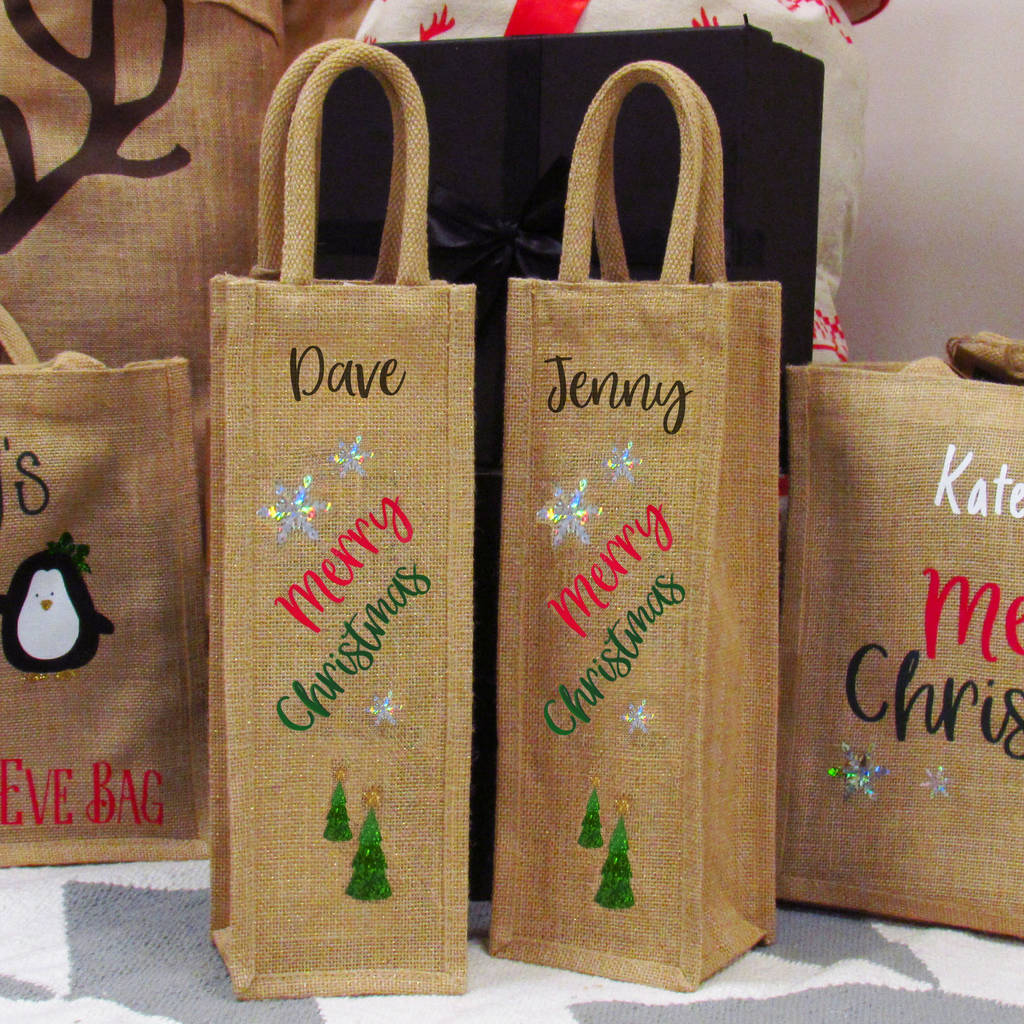 merry christmas personalised jute wine gift bag by perfect ...