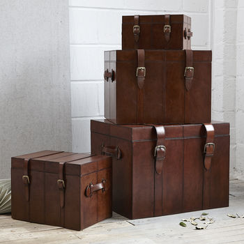 Leather Trunk In Medium, Small And Large
