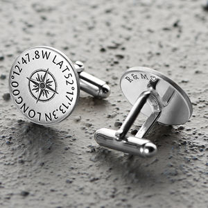 Personalised Sterling Silver Coordinates Cufflinks - grooms jewellery