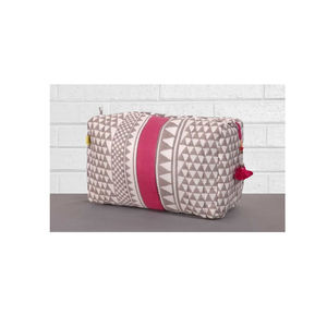 Sankari Quilted Voile Wash Bag In Grey And Indian Pink