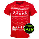 Glow In The Dark Christmas Jumper Style Reindeer Tshirt