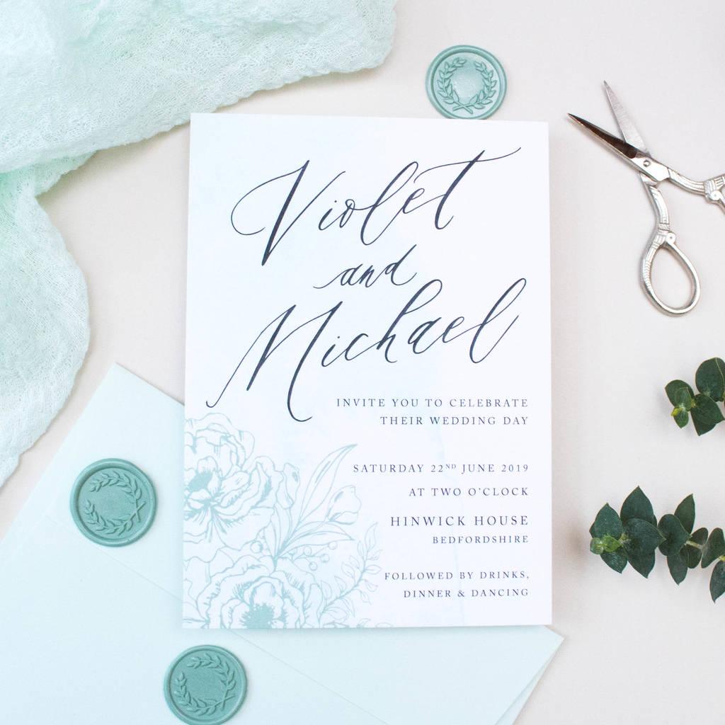 Mint Green Calligraphy Wedding Invitation By Nina Thomas Studio