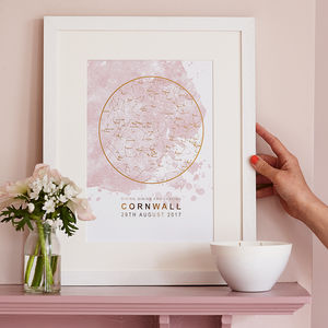 Blush And Gold Foil Personalised Star Chart Print - gifts for mothers
