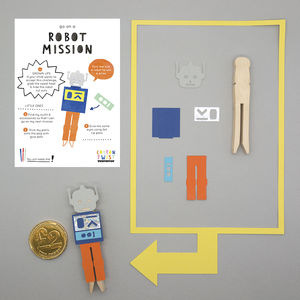 Make Your Own Robot Peg Doll Kit - traditional toys & games