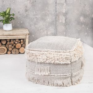 Natural Tassell Pouffe - new in home