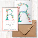 Set Of Pastel Floral Letter Party Invitations