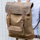 Leather And Canvas Large Backpack