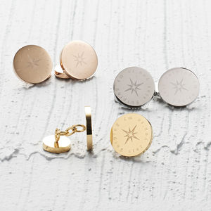 You're My Guiding Star Steel Cufflinks - men's accessories