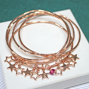 Personalised Star Bangles With Swarovski Crystals