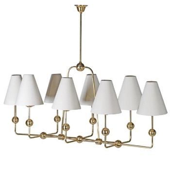 Brass And Linen Chandelier