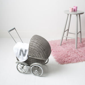 Wicker Doll's Pram And Personalised Blanket