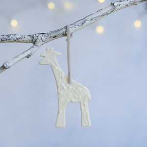 Porcelain Christmas Giraffe Decoration