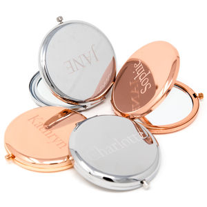 Name Compact Mirror In Rose Gold And Silver
