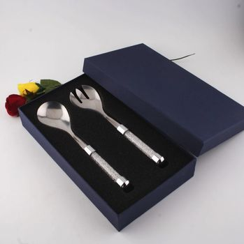 Salad Server Set With Swarovski Crystal Filled Handles