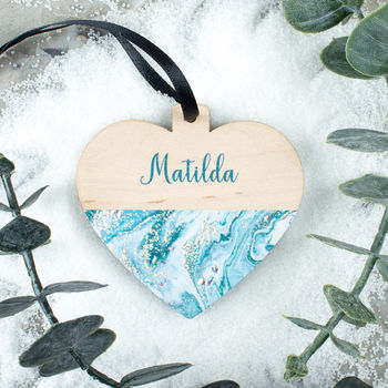 Personalised Marble Maple Wood Christmas Bauble