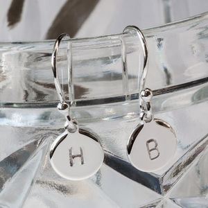 Sterling Silver Hand Stamped Drop Earrings - earrings