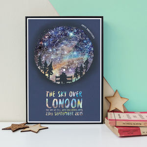Personalised Couple On A Bench Star Map Print - whatsnew