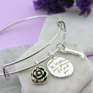 Personalised Floral Bangle For Mum