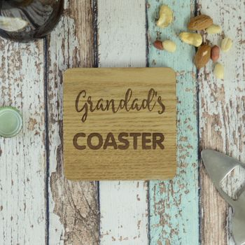 Grandad Grandparent Personalised Engraved Wood Coaster