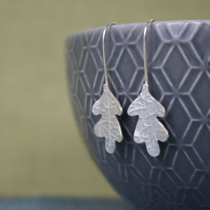 Sterling Silver Watercolour Oak Leaf Earrings