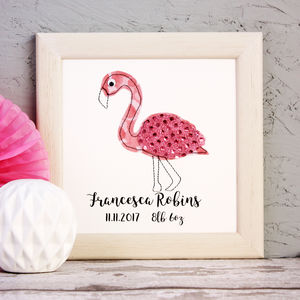 Personalised Flamingo Embroidered Framed Artwork