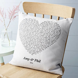 Personalised Song Cushion Cover - anniversary gifts